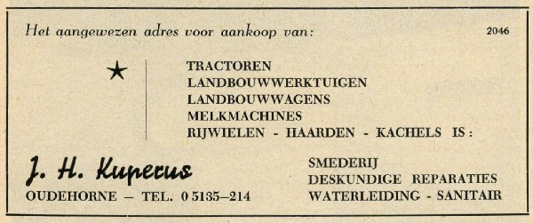 Kuperus Oudehorne 08 Advertentie 1956